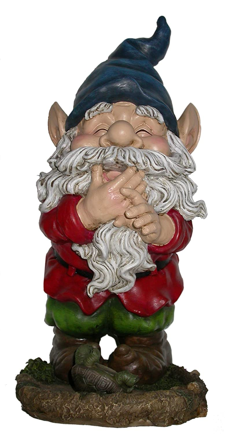 Alpine Smiling Gnome Statue, 15 Inch Tall