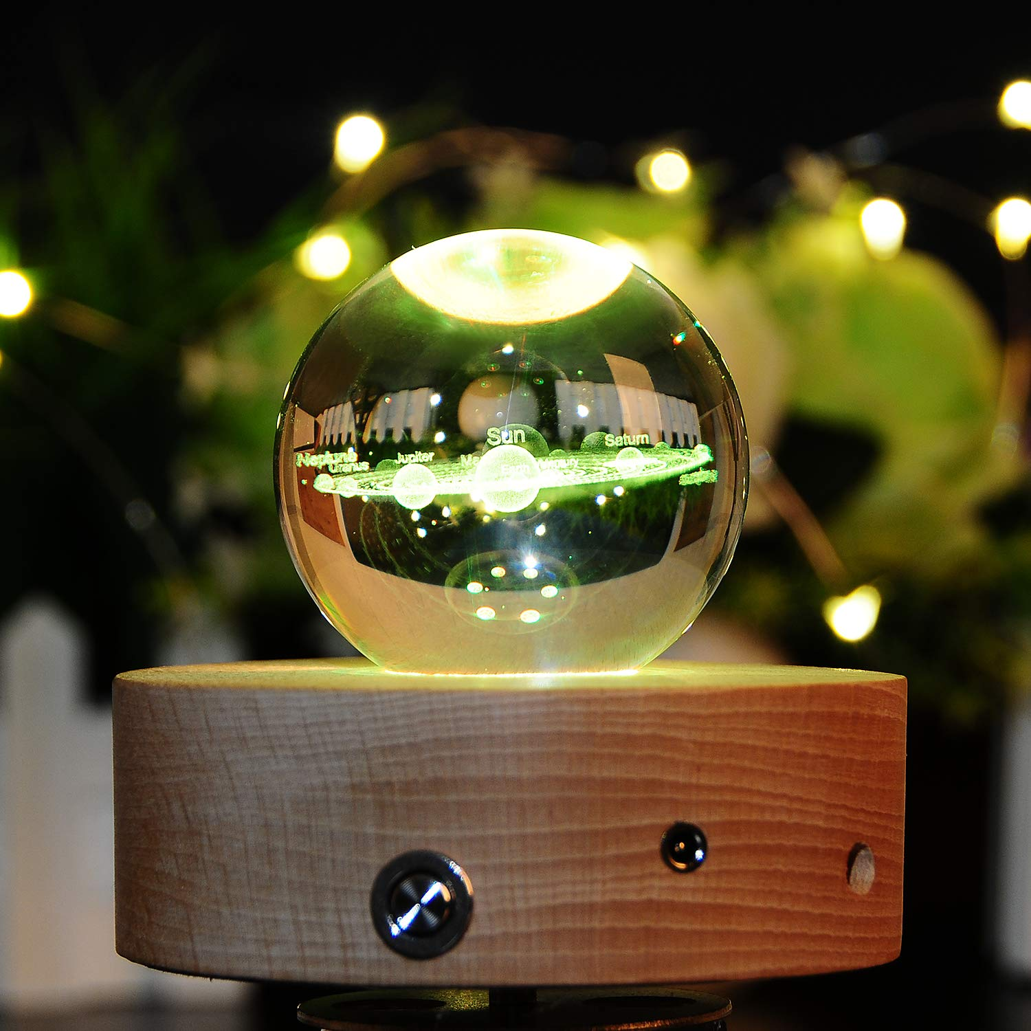 3D Crystal Ball with Solar System Model 60mm (2.36 inch) Glass Sphere Best Birthday Gift for Kids, Teacher of Physics, Astronomer, Lover of Universe, Boy/Girlfriend, Classmates