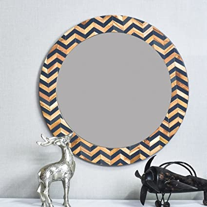 Casa D�cor Accentiv Waggles Mirror Wall Hanging Wooden Wall Decor Round Shape (Multicolour)