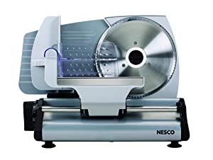 NESCO FS-200, Food Slicer, Gray, Aluminum with 7.5 inch Stainless Steel Blade, 180 watts