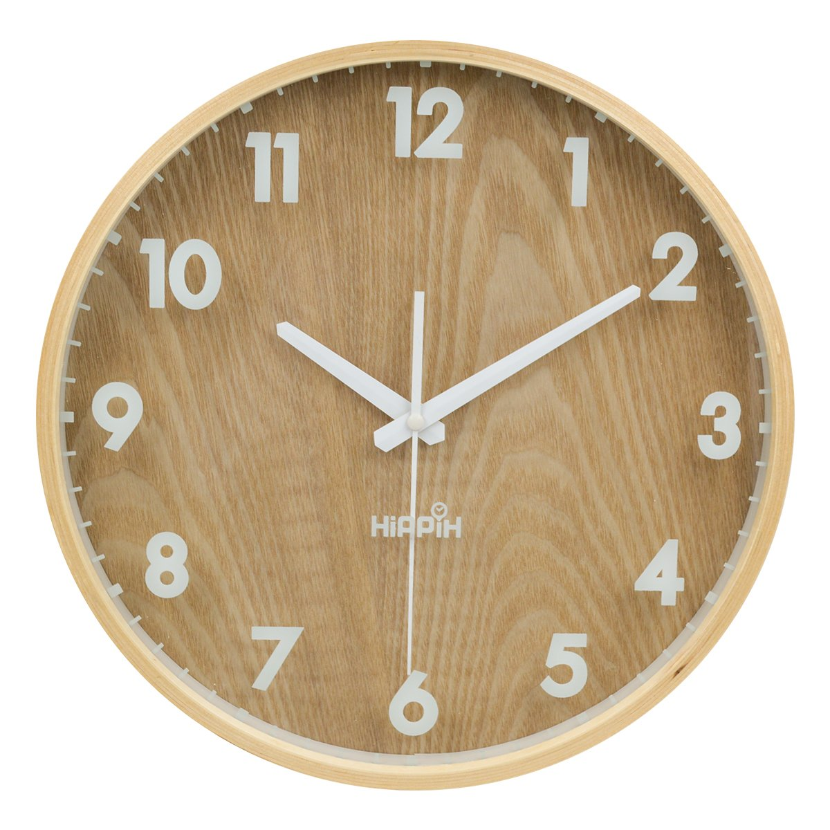 HIPPIH 12'' Silent Wall Clock Wood Non Ticking Digital Quiet Sweep Home Decor Vintage Wooden Clocks(number)