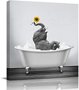 Canvas Wall Art Print Bathroom Wall Art Decor-Happy Elephant with Sunflower in Bathtub Black White Illustration Artwork Canvas Prints Stretched & Framed Ready to Hang Home Decor Wall Decor (12''x12'')