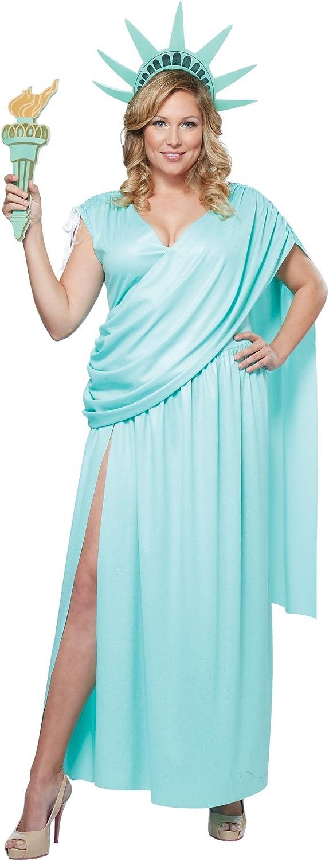 Disfraz de estatua de la libertad para mujer talla grande: Amazon ...