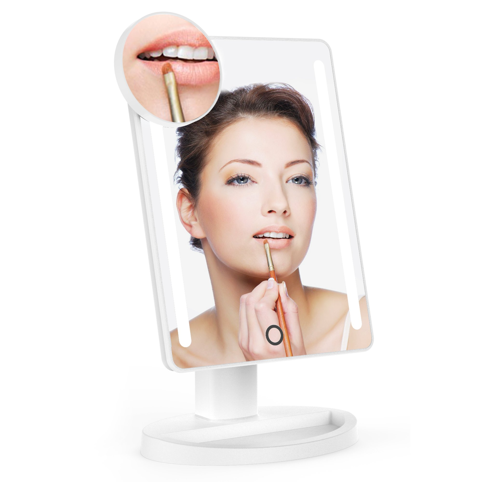 LED Makeup Mirror Lightswim Natural Daylight Illuminated Vanity Mirror with 10X Magnification Spot Mirror and 180 Degree Stand for Countertop Make up