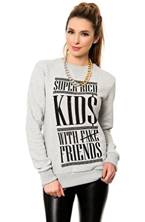 1539e94909 Criminal Damage Women s Super Rich Sweater Extra Small Grey at ...