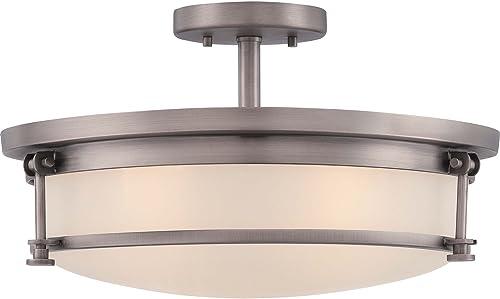 Quoizel SLR1716AN Sailor Nautical Semi Flush Mount Ceiling Lighting, 4-Light, 400 Watts, Antique Nickel 10 H x 16 W