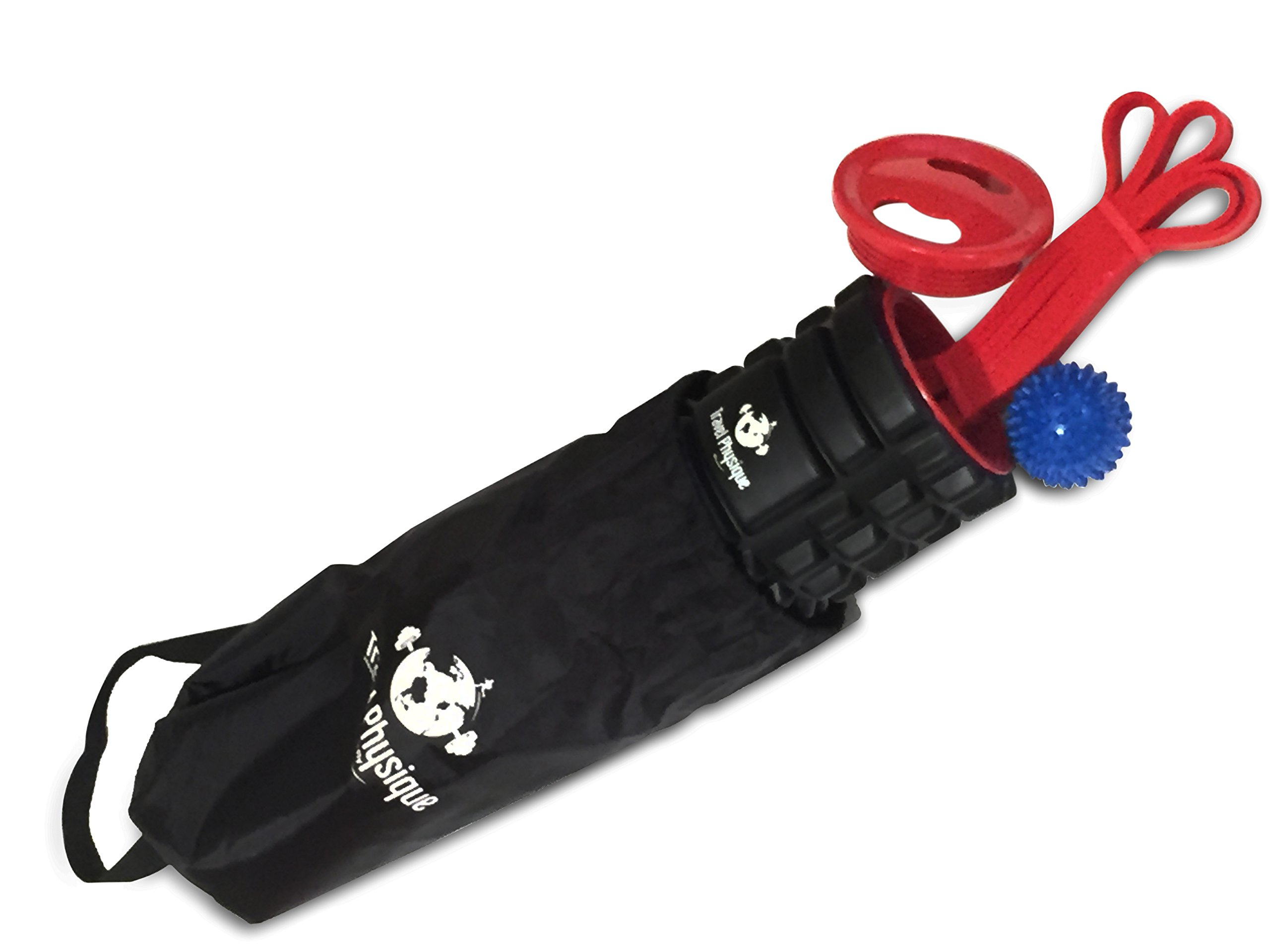 Travel Physique: Portable Muscle Mobility & Recovery Kit (13 inches long) - Portable Deep Tissue Foam Roller + Reflexology Massage Ball + Durable Resistance Band. Includes FREE Travel Bag!
