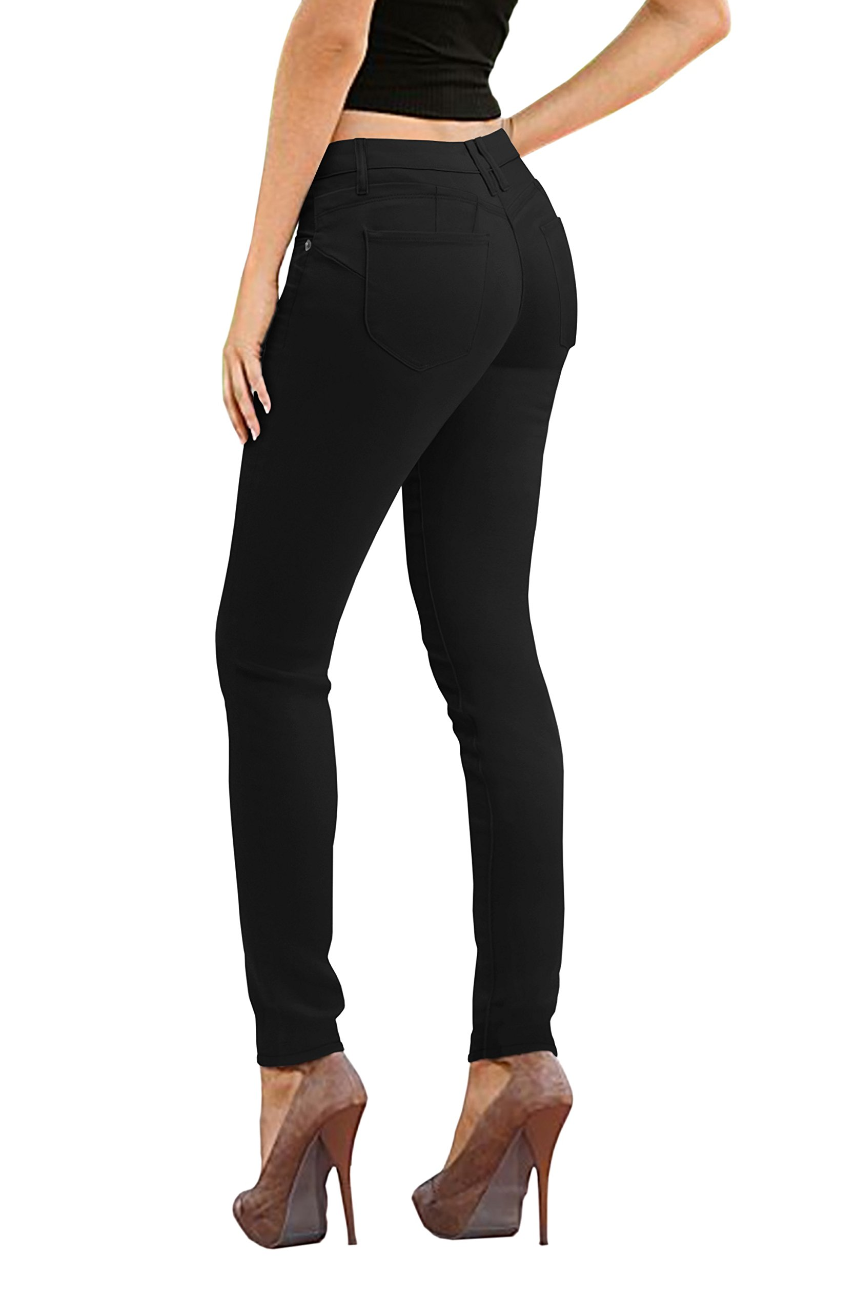 Women's Butt Lift Stretch Denim Jeans-P37375SK-Black-3 by HyBrid & Company