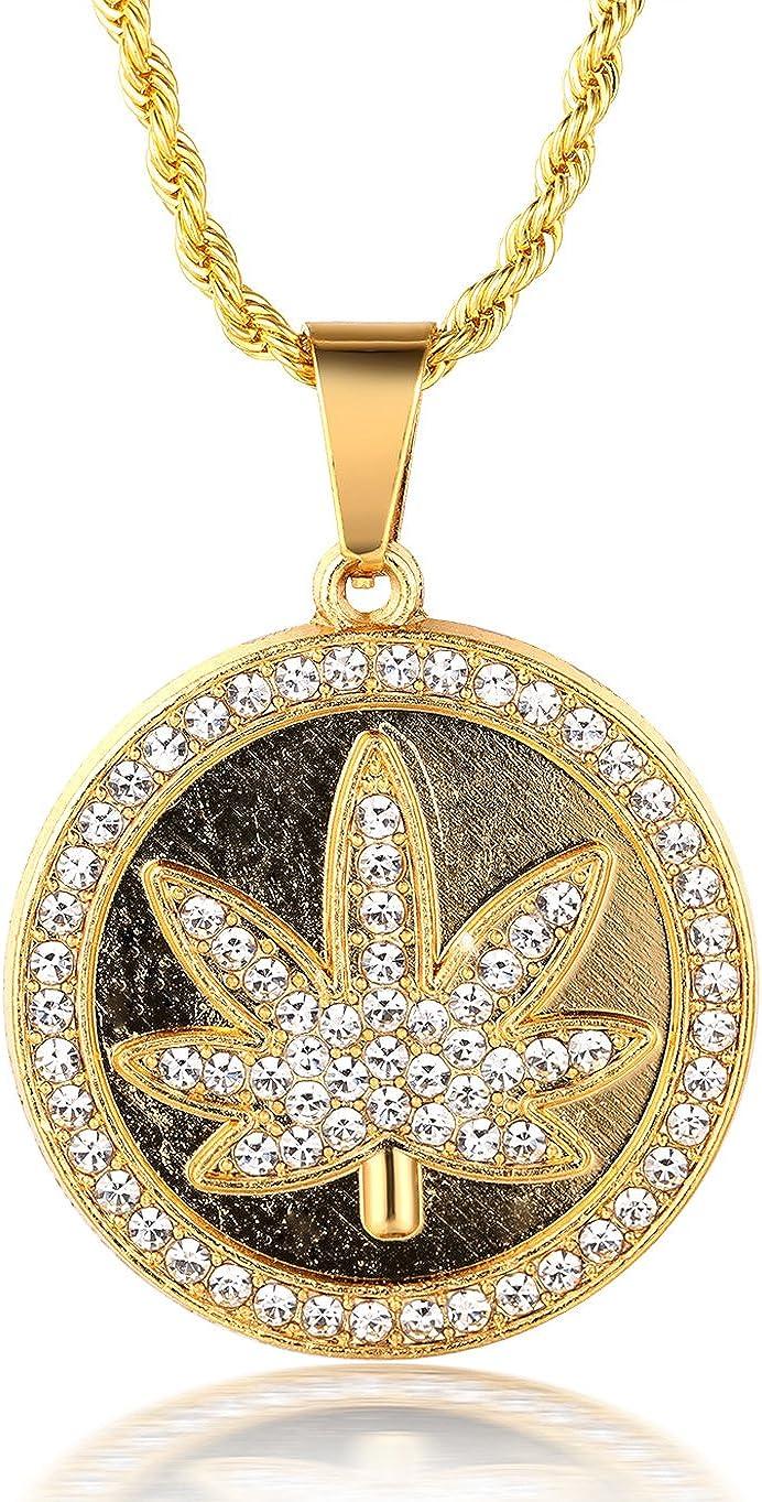 Halukakah ● Marijuana ● Le Collier de lhomme en 18K Or V/éritable et Dor/é Weed Marijuana Pendentif Diamant Artificiel Fix/é avec La Cha/îne /à Cordes Gratuit de 30