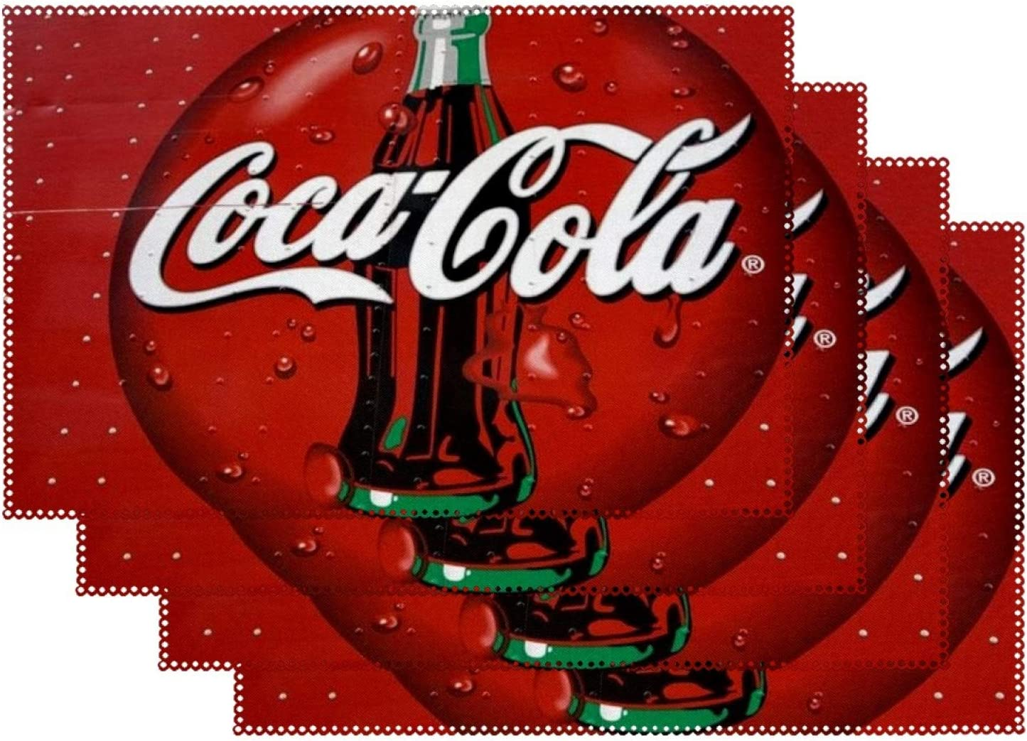 Coca-Cola Set of 4 Rectangle Placemats Heat-Resistant Table Mats Washable Polyester Place Mats for Kitchen Dining Decor