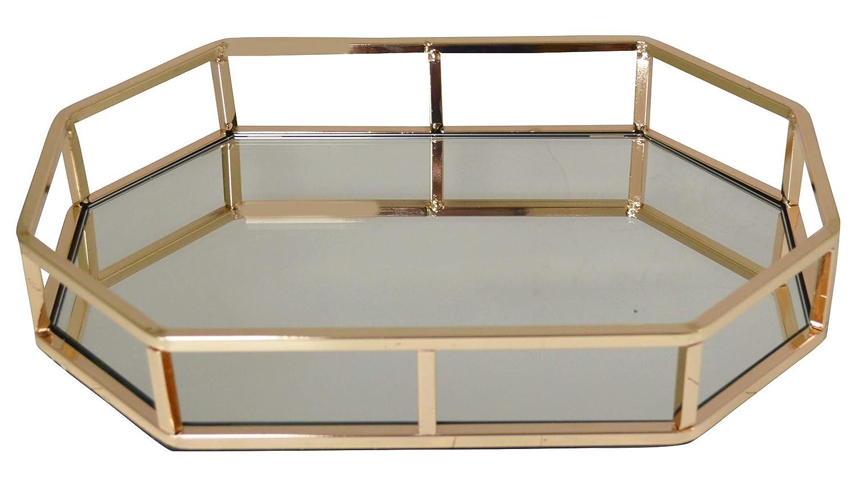 Maison Des Cadeaux New decorativo in metallo base ottagonale forma vassoio da portata/toeletta con specchio in vetro colore: Gold cod. 0