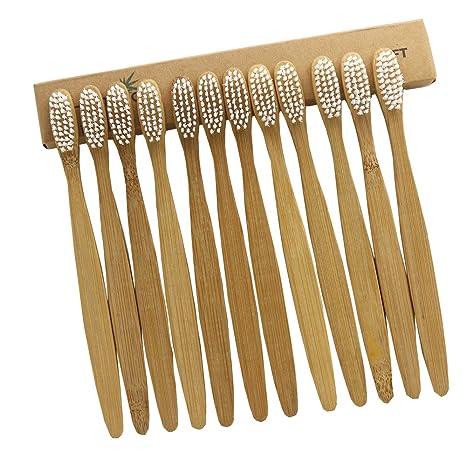 n-amboo, 12 piezas Cepillo de dientes de bambú blanco cerdas de nylon cepillo