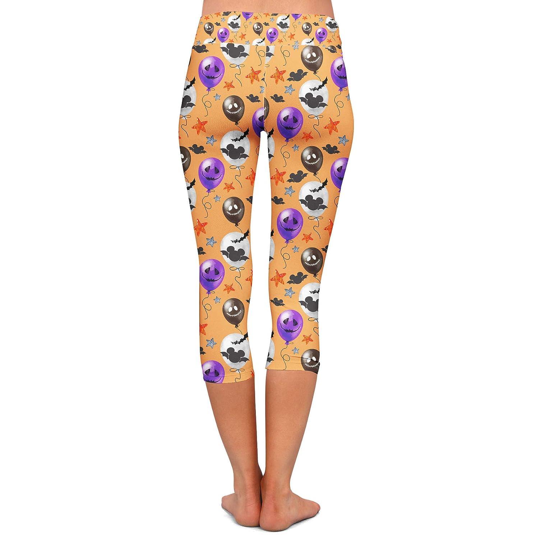 Low Waist Halloween Mickey Bats /& Balloons Disney Inspired Yoga Leggings Capri 3//4 Length