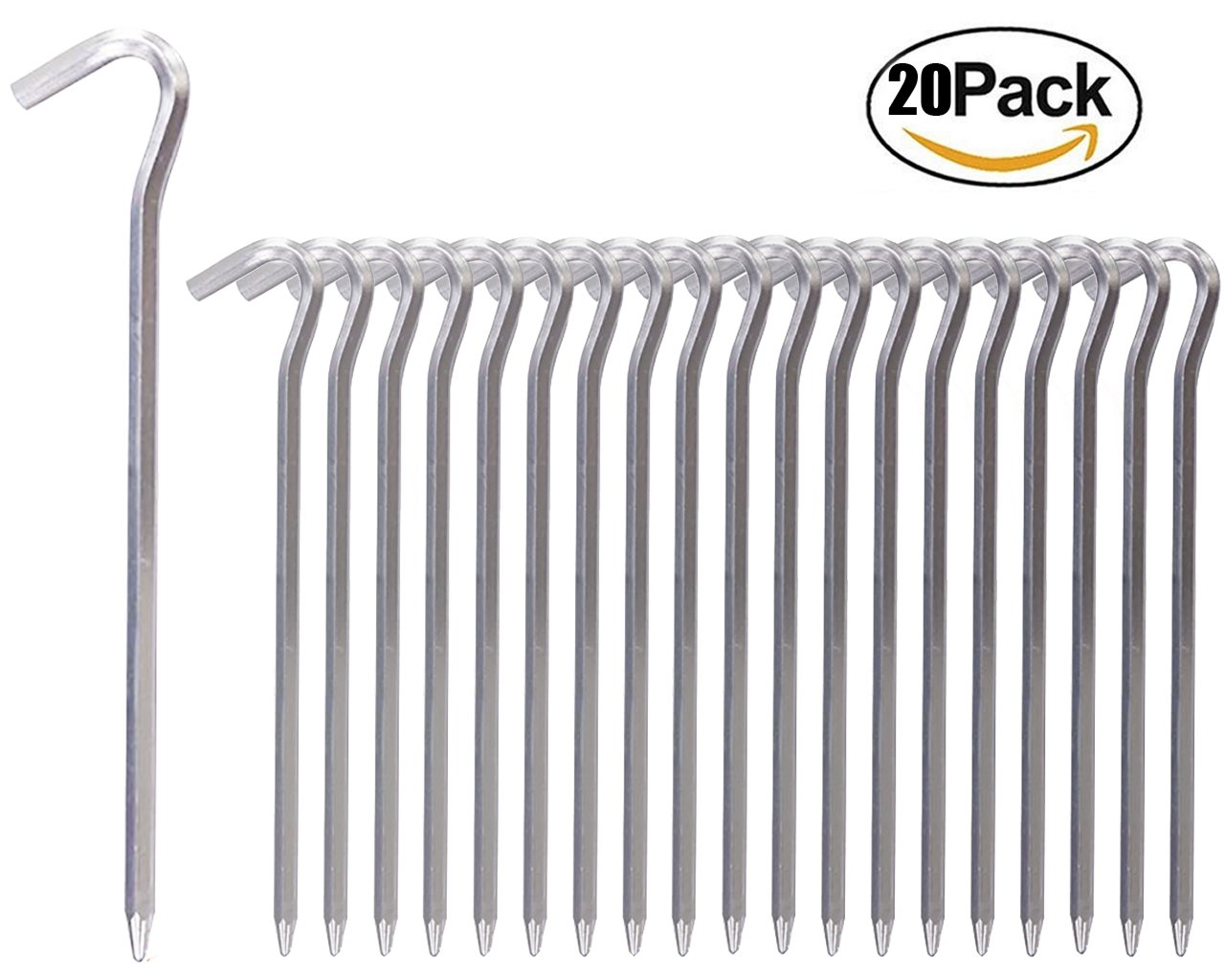 RIY 7'' Camping Tent Stakes Aluminum Heavy Duty Garden Canopy Stakes Pegs for Plants 20pcs