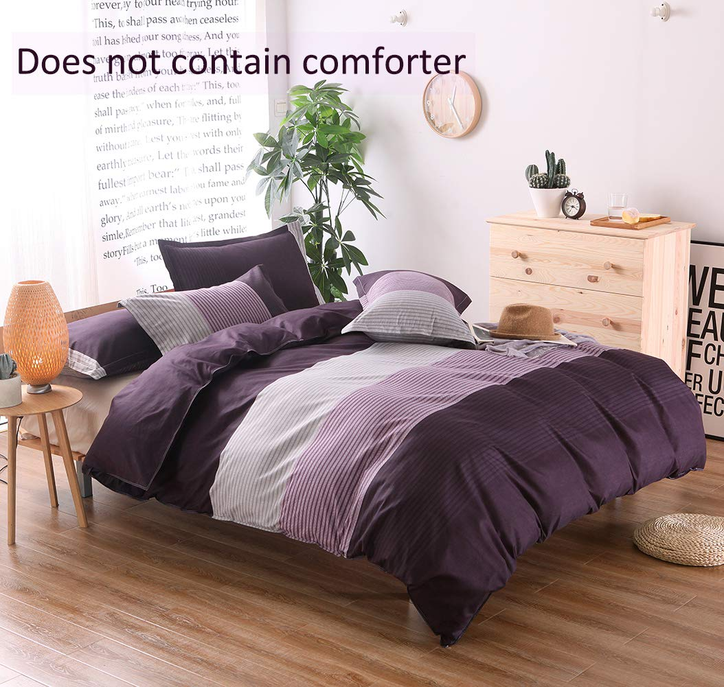 Purple Striped Duvet Cover Twin (59x83 Inch), 2 Pieces Include 1 Microfiber Duvet Cover and 1 Multicolored Pillowcase, Bedding Set for Boys, Girls, Kids and Teens (Purple, Twin) by QYsong