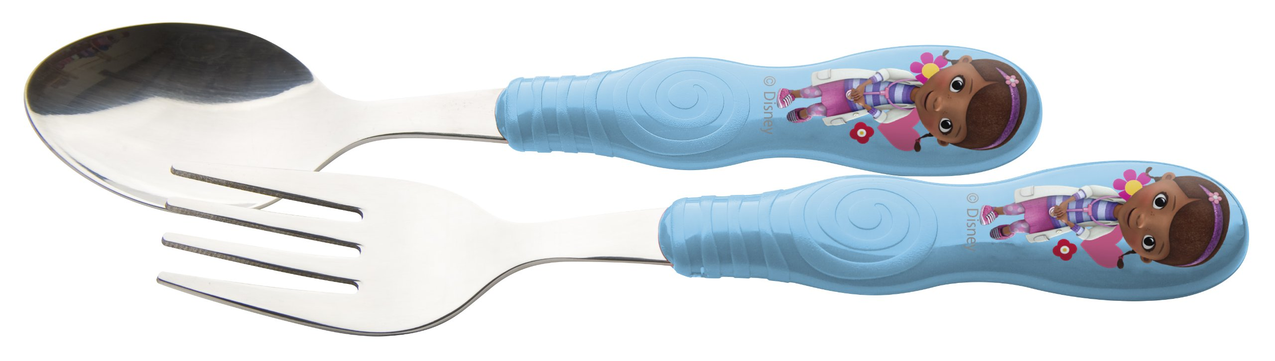 Zak! Designs Easy Grip Flatware, Children's Spoon and Fork with Doc McStuffins, BPA-free Plastic and Stainless Steel