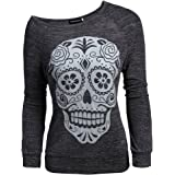 Jinshida Women's One Shoulder Smiling Skull Pullover Top Blouse