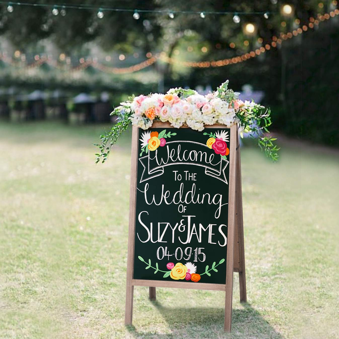 RHF Double Sided Chalk Board Sign,Sidewalk Sign,Sandwich Chalkboards,Rustic Freestanding A-Frame Wedding Decoration,Non-Porous Message, Chalkboard Easel,Store Display Sign Blackboard 40''