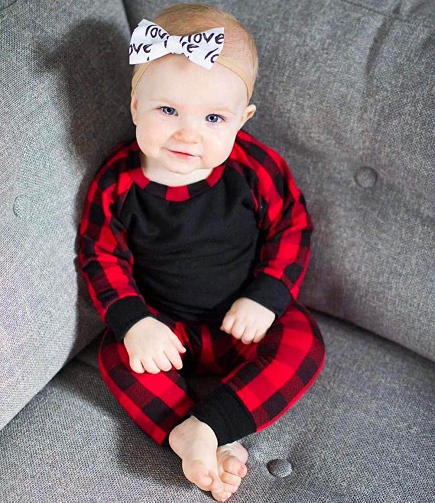 for 0-24 Months,Toddler Baby Girls Plaid T-Shirt Tops+Pants,2Pcs Outfits Children Playwear Clothes Sets