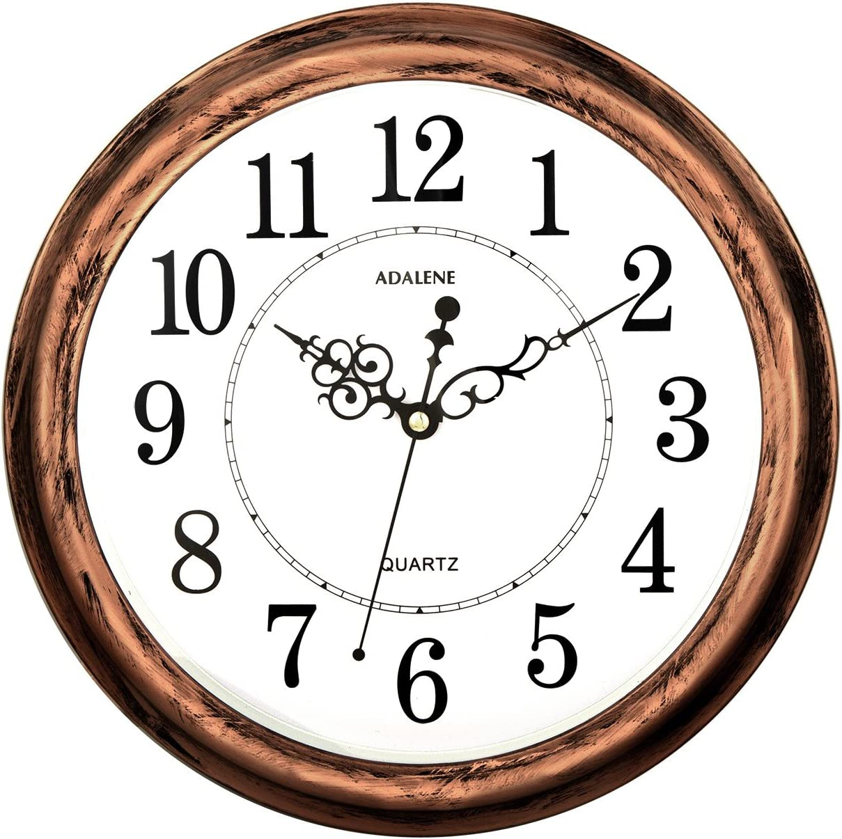 Adalene 13-Inch Decorative Wall Clock Silent Non-Ticking - Vintage Retro Kitchen Wall Clock, Bathroom - Large Wall Clocks for Living Room Décor - Rustic Wall Clocks Battery Operated Silent Wall Clock