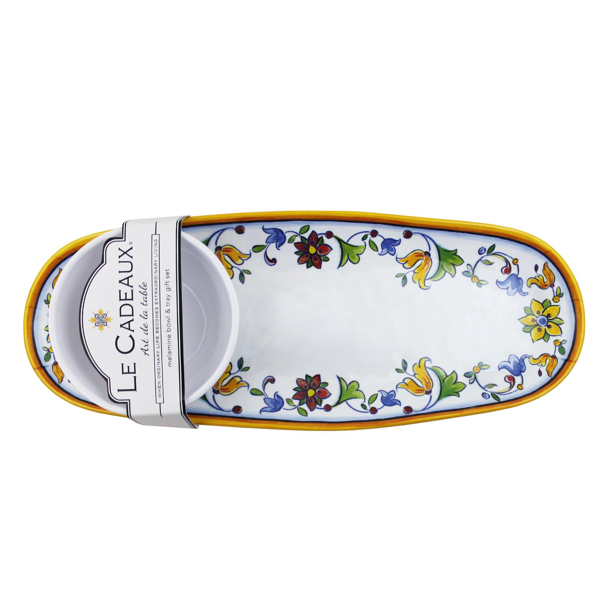 Le Cadeaux Melamine Capri - Tray and Bowl Serving Set