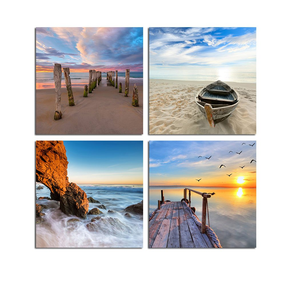 TONZOM Canvas Wall Art Framed Stretched Easy To Hang Art Seascape For Office, Bar and Hotel Wall Decor (Beach, Boats, Reef, Sunrise) 12x12inchx4