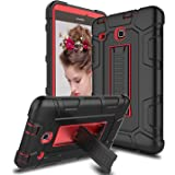 Venoro Samsung Galaxy Tab E 8.0 Case, [Kickstand Feature] Shockproof Rugged Heavy Duty Three Layer Armor Defender Protective Case Cover for Samsung SM-T377P / SM-T377VZ / SM-T377R (Black/Red)