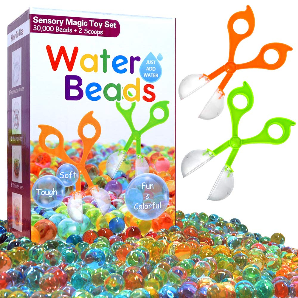 AURORA UP Water Beads for Kids Fine Motor Skills Toy Set 30 000 Water Growing Balls with 2 Scoops Tactile Sensory Toys for Kids