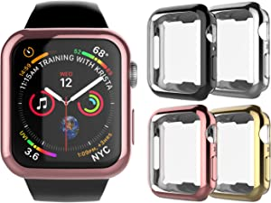 Njjex Case Compatible For Apple Watch Case 38mm Series 3 Series 2 Series 1,[4 Pack] Ultra Slim Lightweight Bumper Soft TPU Screen Protector Full Body Protective Cover Case For 38mm iWatch Series 3 2 1