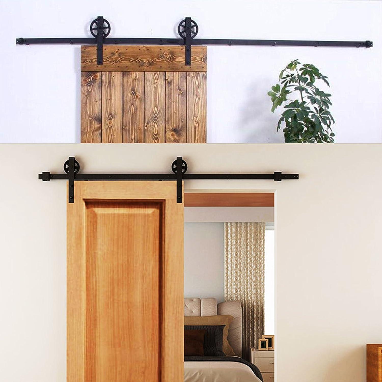 mophorn Industrial puerta corredera Classic negro rústico sola puerta deslizante puerta del establo de interior puerta corrediza de granero armario Hardware Set para un hermoso y elegante armario