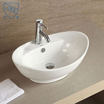 Decoraport White Oval Ceramic Bathroom Kitchen Vessel Sink Porcelain