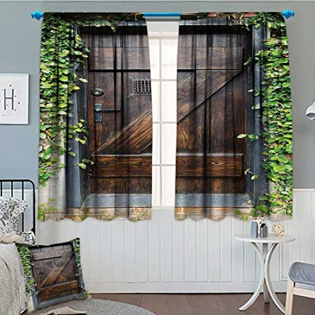 Custom Spanish Style Furniture Inside Rustic Decor Blackout Window Curtain Small Spanish Style Dark Stained Wood Door Secret Garden With Grated