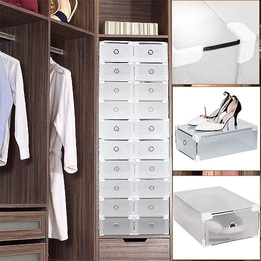 Shioucy - 20 cajas para zapatos - Apilables - Cajas transparentes de plástico resistente para zapatos de hombres y mujeres - Medidas 31 x 20 x 11 cm - Cajas organizadoras apilables: Amazon.es: Hogar