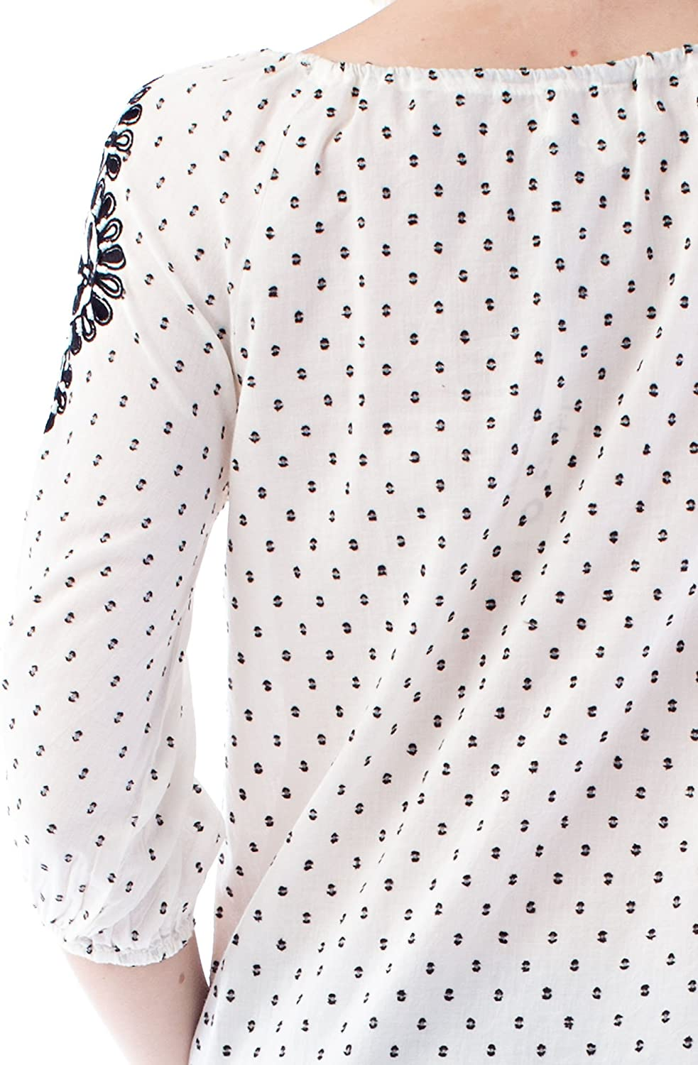 Solitaire Embroidered Dot Fabric Blouse