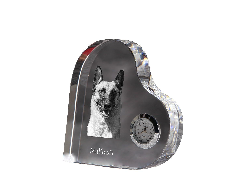 Malinois ArtDog Ltd Herzf/örmigen Kristall Uhr mit Einem Bild eines Hundes