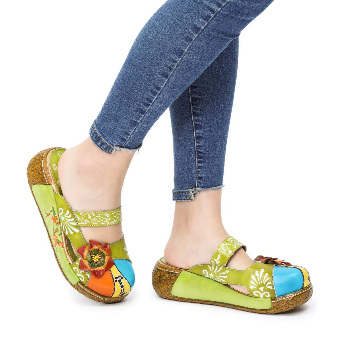 f6490f84e174dd Camfosy Sabots Cuir Femmes, Sandales Compensée Clogs Mule Chaussures Été à  Talons Compensés Plateforme Pantoufles Originales ...