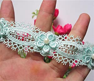 2 Meters Flower Pearl Eyelash Lace Edge Trim Ribbon 3 cm Width Vintage Style Blue Green Edging Trimmings Fabric Embroidered Applique Sewing Craft Wedding Dress Embellishment Decor Clothes Embroidery