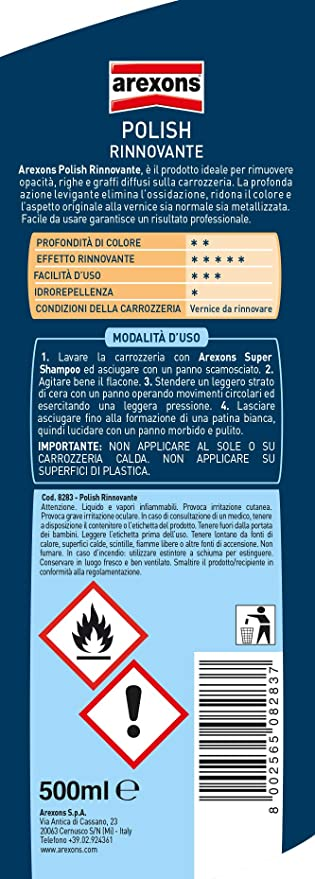 AREXONS POLISH RINNOVANTE 500 ml, Polish rimuovi graffi, opacità e