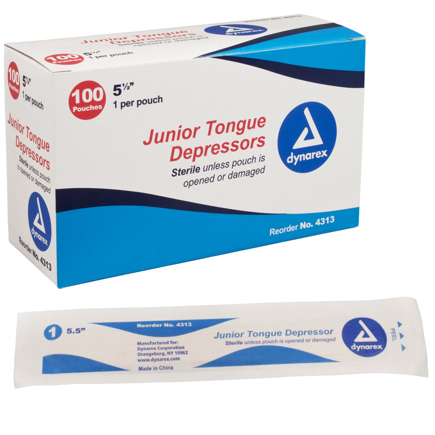 Dynarex Tongue Depressor Ster Jr 5.5'' - 10/100/Cs