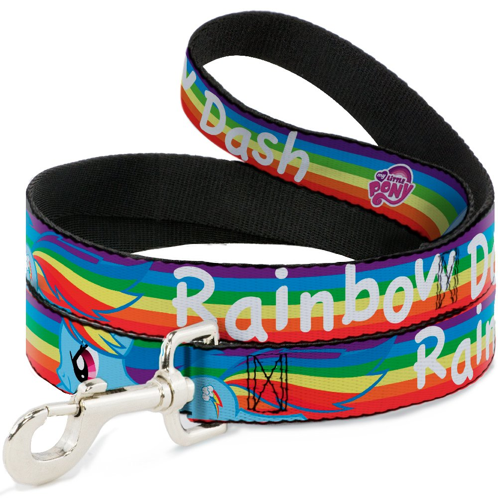 6Ft. Long  1.0 Inches wide Regular Buckle-Down Rainbow Dash Charging Pose Rainbow Stripe Multi color White  Dog Leash, 6'