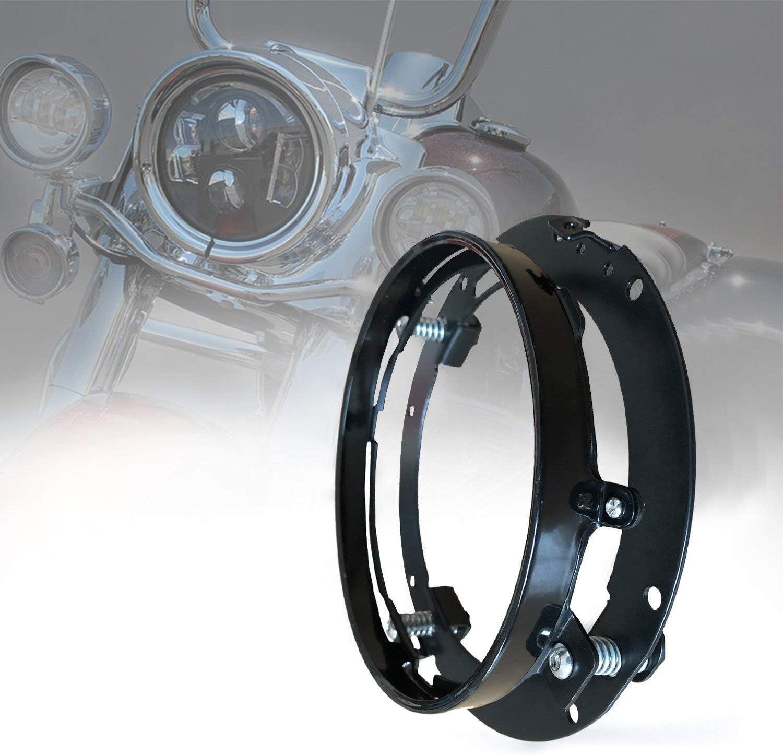 Support de Bague Ronde Noir Support de Fixation de Phare de Voiture Automatique de 7 Pouces en Alliage DAluminium Cikuso 2Pcs Support de Phare pour Wrangler