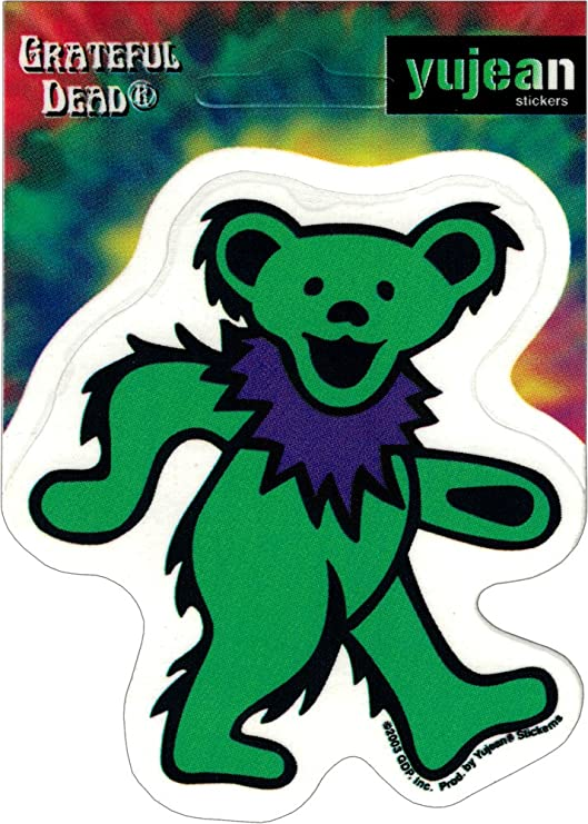 Extra Long Lasting for Any Surface Green Weather Resistant GDP Inc 3 Grateful Dead Dancing Bear Sticker 3 x 3