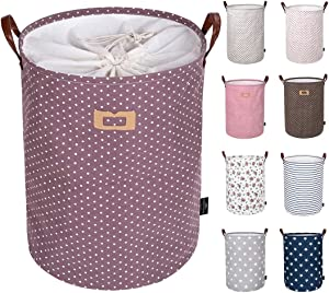 DOKEHOM 19-Inches Thickened Large Laundry Basket -(9 Colors)- with Durable Leather Handle, Drawstring Waterproof Round Cotton Linen Collapsible Storage Basket (Purple, L)
