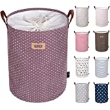 "DOKEHOM DKA0822PEXL 22"" Thickened X-Large Laundry Basket -(9 Colors, 19"" and 22"")- with Durable Leather Handle, Waterproof Round Cotton Linen Collapsible Storage Basket (Purple, XL)"