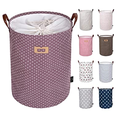 DOKEHOM DKA0822PEXL 22  Thickened X-Large Laundry Basket -(9 Colors, 19  and 22 )- with Durable Leather Handle, Waterproof Round Cotton Linen Collapsible Storage Basket (Purple, XL)