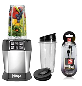 Nutri Ninja BL480D Personal Blender with 1000-Watt Auto-iQ Base to Extract Nutrients for Smoothies, Juices and Shakes and 18, and 24-Ounce Cups/FREE NUTEK EARBUDS (Renewed)
