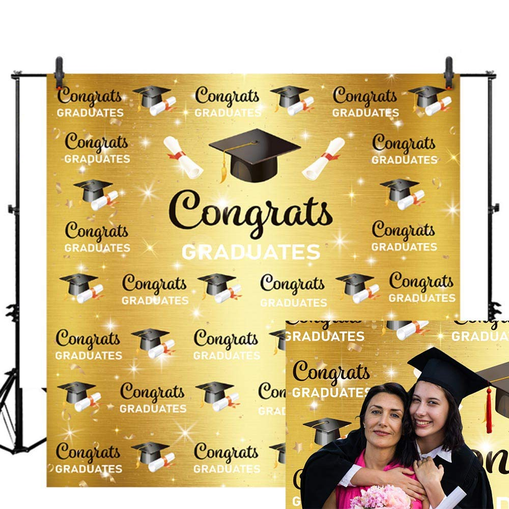 Allenjoy 6x6ft Congratulate Graduation Backdrop Congrats Grad Class of 2019 Black and Gold Boys and Girls Photography Background Prom Party Banner Event Supplies Decoration Photo Studio Props