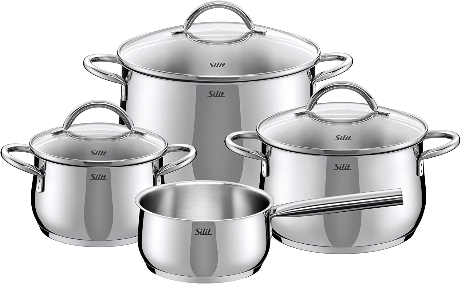 Silver Silit Cookware Set Comodo 4 pcs of Stainless Steel 48 x 48 x 28 cm