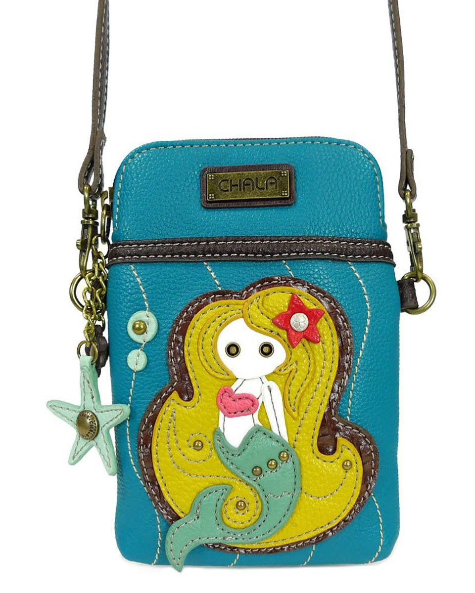 Chala Crossbody Cell Phone Purse - Women PU Leather Multicolor Handbag with Adjustable Strap - Mermaid - Blue