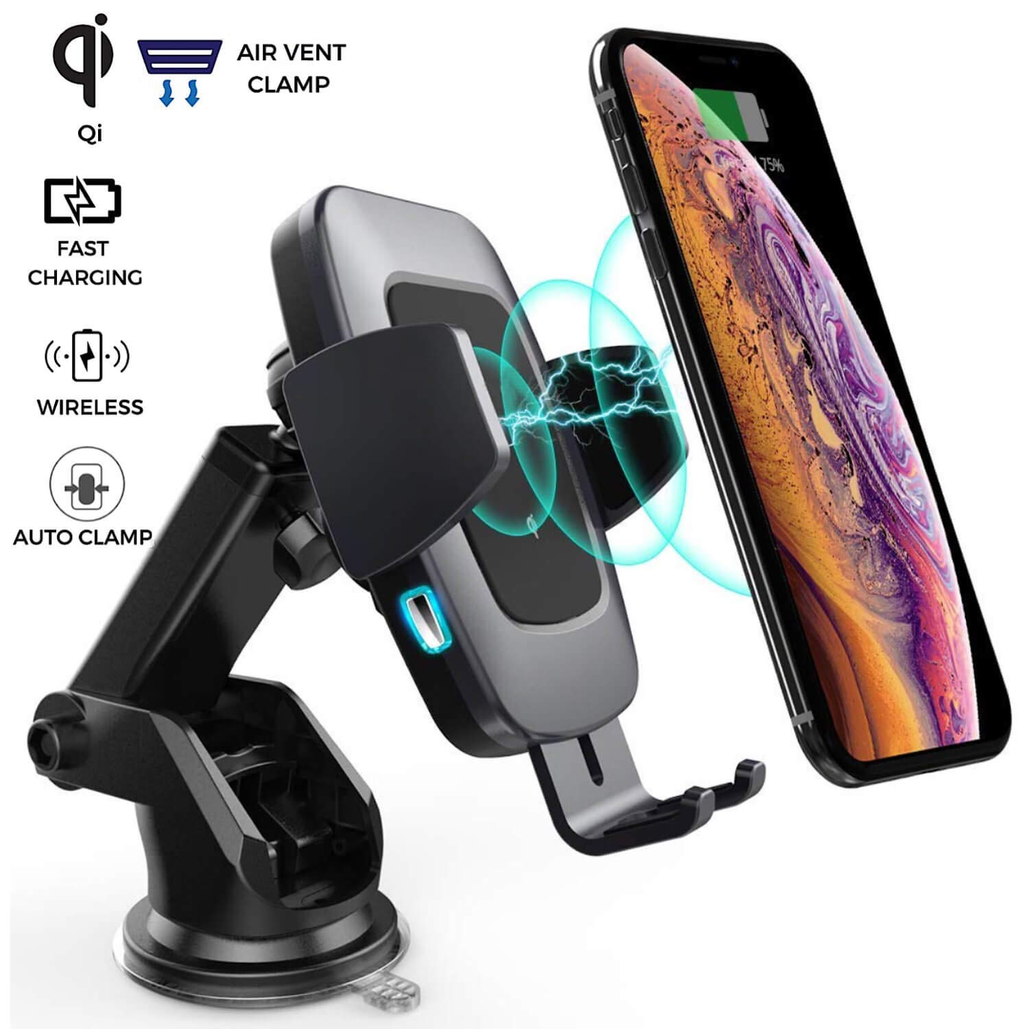 Alium Auto Clamp Wireless Car Charger | Wireless Charging Car Mount | 2 in 1 Function | Dual Suction or Clamp Option | 360 Rotation | Universal Compatible | LED Indication Light | Qi-Enabled Devices by AliumCo